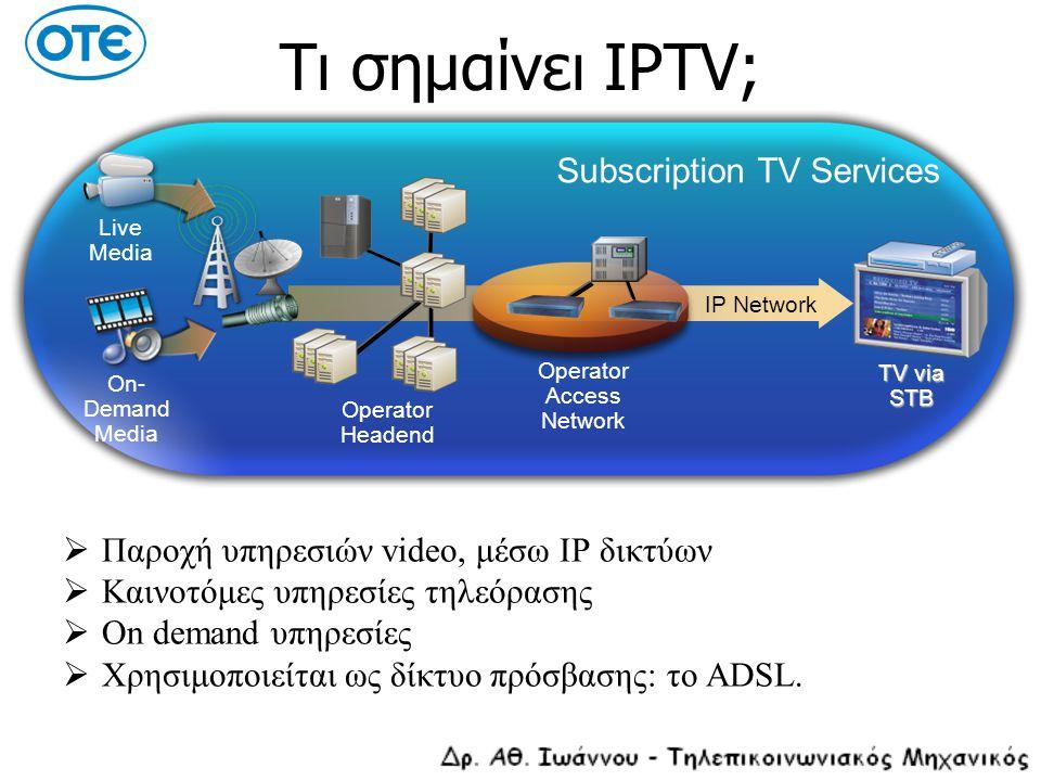 Τι σημαίνει IPTV;  Παροχή υπηρεσιών video, μέσω IP δικτύων  Καινοτόμες υπηρεσίες τηλεόρασης  On demand υπηρεσίες  Χρησιμοποιείται ως δίκτυο πρόσβα