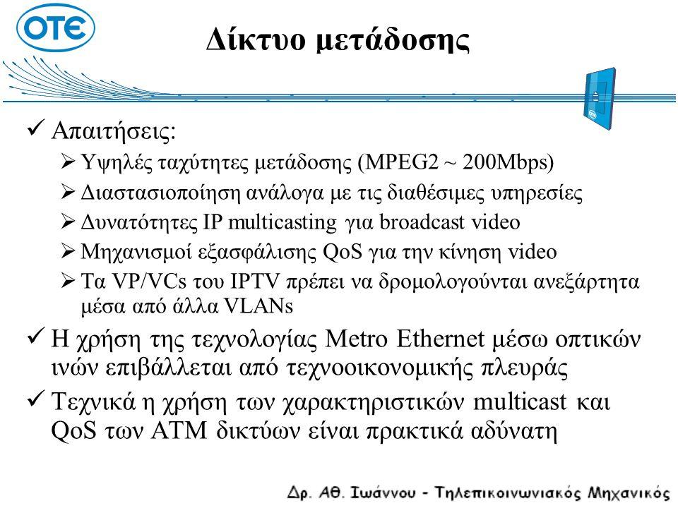 Δίκτυο μετάδοσης Απαιτήσεις:  Υψηλές ταχύτητες μετάδοσης (MPEG2 ~ 200Mbps)  Διαστασιοποίηση ανάλογα με τις διαθέσιμες υπηρεσίες  Δυνατότητες IP mul