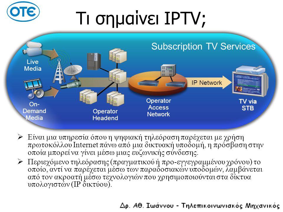 Οικιακό δίκτυο Βασικές λειτουργίες των συσκευών του οικιακού δικτύου:  Τερματική διάταξη ADSL: Διασύνδεση και τερματισμός του ADSL σήματος IP connectivity Παροχή διασύνδεσης Ethernet για τις υπόλοιπες συσκευές του οικιακού δικτύου (802.3 ή 802.11x)  Set Top Box: Υποστήριξη του middleware client software Λήψη και εμφάνιση των EPG δεδομένων Αποκρυπτογράφηση και έλεγχος της πρόσβασης (DRM client) Αποκωδικοποίηση και αναπαραγωγή video (media player/decoder) Τοπική αποθήκευση περιεχομένου για υπηρεσίες PVR Παροχή υπηρεσιών VoIP, συνήθως μέσω SIP client και VoIP DSPs DVB-S / DVB-T decoders για υβριδικά STBs Διασύνδεση με TV μέσω των διαθέσιμων interfaces (S-video, component, composite, SDI κ.τ.λ.)