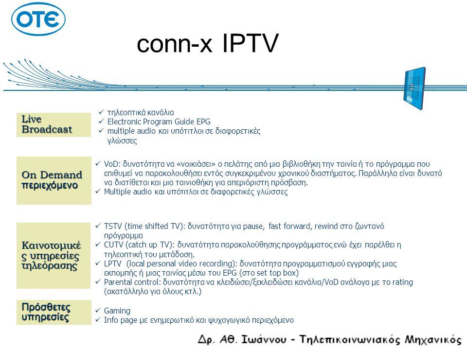 Υπηρεσίες IPTV  Broadcast TV: διανομή free-to-air τηλεοπτικών καναλιών  Pay TV: συνδρομητική τηλεόραση  Near Video On Demand (NVoD): επαναλαμβανόμενη εκπομπή προγραμμάτων σε διαφορετικά χρονικά παράθυρα