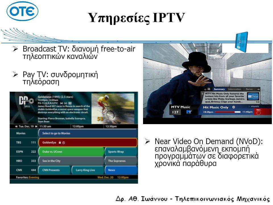 Υπηρεσίες IPTV  Broadcast TV: διανομή free-to-air τηλεοπτικών καναλιών  Pay TV: συνδρομητική τηλεόραση  Near Video On Demand (NVoD): επαναλαμβανόμε