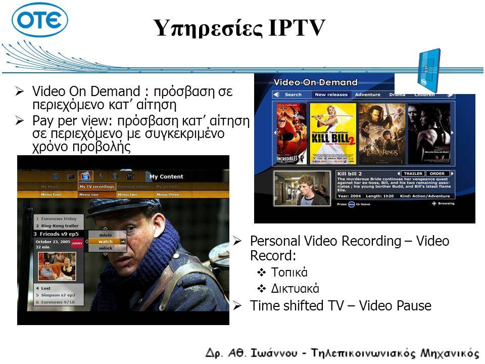 Υπηρεσίες IPTV  Video On Demand : πρόσβαση σε περιεχόμενο κατ' αίτηση  Pay per view: πρόσβαση κατ' αίτηση σε περιεχόμενο με συγκεκριμένο χρόνο προβο