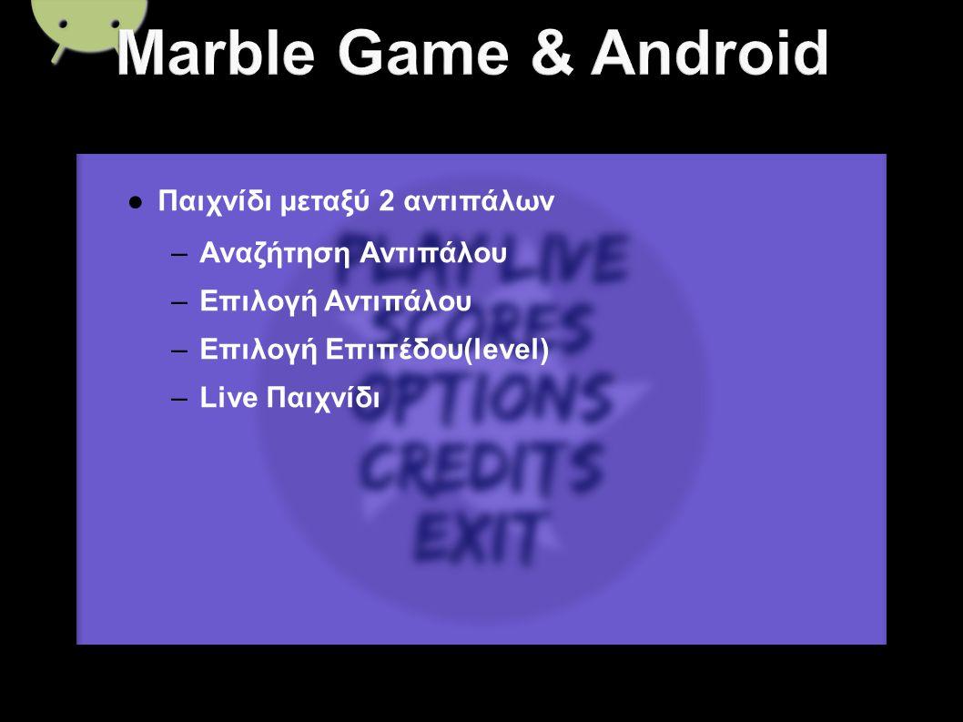 ● Παιχνίδι μεταξύ 2 αντιπάλων – Αναζήτηση Αντιπάλου – Επιλογή Αντιπάλου – Επιλογή Επιπέδου(level) – Live Παιχνίδι