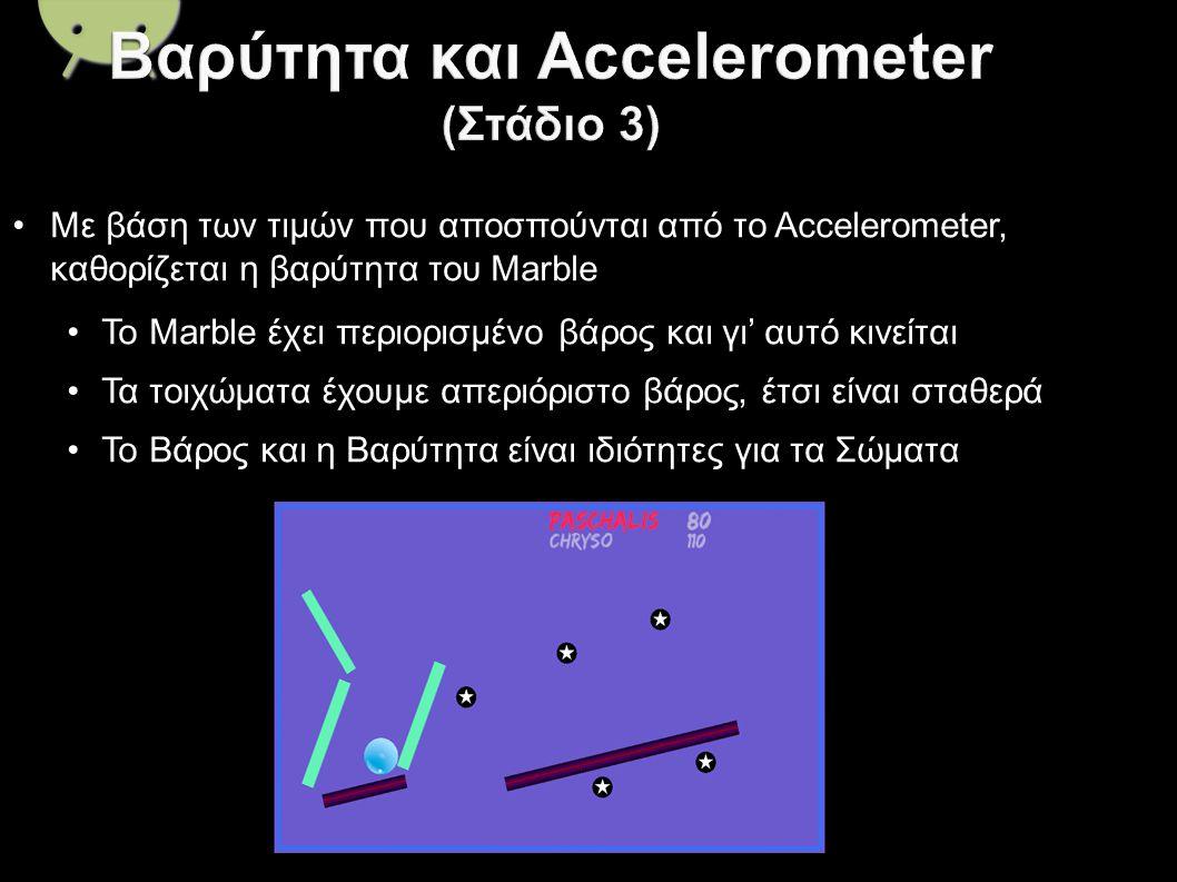 Με βάση των τιμών που αποσπούνται από το Accelerometer, καθορίζεται η βαρύτητα του Marble Το Marble έχει περιορισμένο βάρος και γι' αυτό κινείται Τα τοιχώματα έχουμε απεριόριστο βάρος, έτσι είναι σταθερά Το Βάρος και η Βαρύτητα είναι ιδιότητες για τα Σώματα