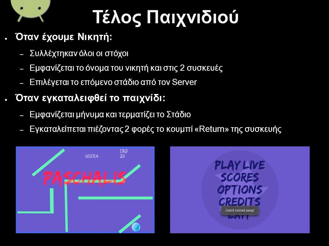 ● Όταν έχουμε Νικητή: – Συλλέχτηκαν όλοι οι στόχοι – Εμφανίζεται το όνομα του νικητή και στις 2 συσκευές – Επιλέγεται το επόμενο στάδιο από τον Server ● Όταν εγκαταλειφθεί το παιχνίδι: – Εμφανίζεται μήνυμα και τερματίζει το Στάδιο – Εγκαταλείπεται πιέζοντας 2 φορές το κουμπί «Return» της συσκευής
