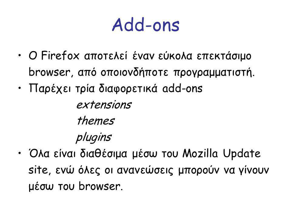 Add-ons Ο Firefox αποτελεί έναν εύκολα επεκτάσιμο browser, από οποιονδήποτε προγραμματιστή. Παρέχει τρία διαφορετικά add-ons extensions themes plugins