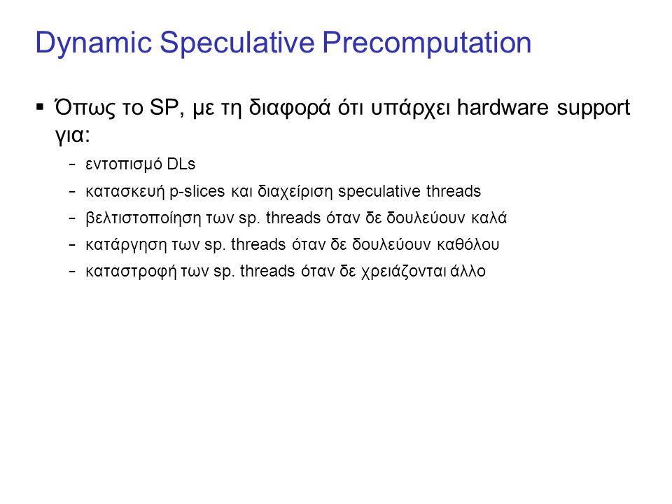 Dynamic Speculative Precomputation  Όπως το SP, με τη διαφορά ότι υπάρχει hardware support για: – εντοπισμό DLs – κατασκευή p-slices και διαχείριση speculative threads – βελτιστοποίηση των sp.
