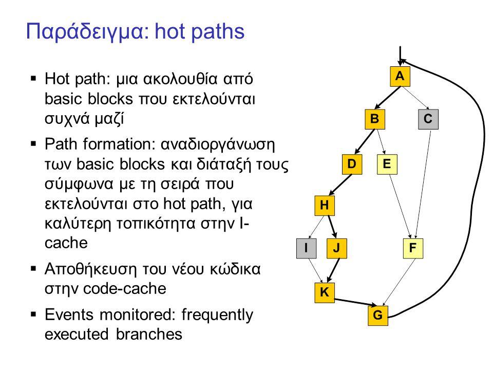 Παράδειγμα: hot paths  Hot path: μια ακολουθία από basic blocks που εκτελούνται συχνά μαζί  Path formation: αναδιοργάνωση των basic blocks και διάταξή τους σύμφωνα με τη σειρά που εκτελούνται στο hot path, για καλύτερη τοπικότητα στην I- cache  Αποθήκευση του νέου κώδικα στην code-cache  Events monitored: frequently executed branches