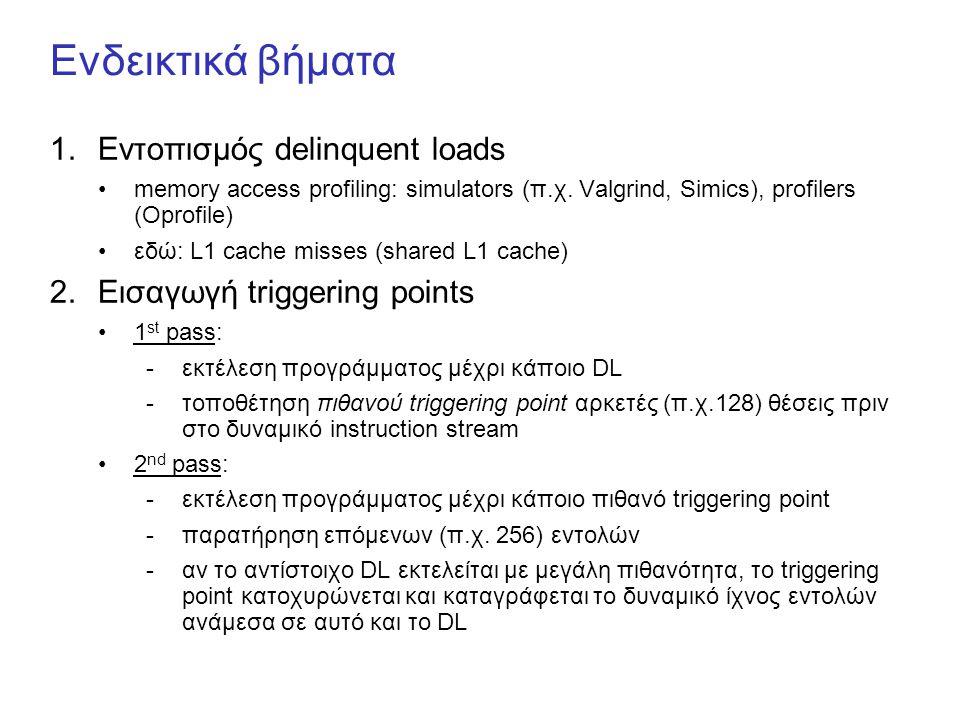 Ενδεικτικά βήματα 1.Εντοπισμός delinquent loads memory access profiling: simulators (π.χ. Valgrind, Simics), profilers (Oprofile) εδώ: L1 cache misses