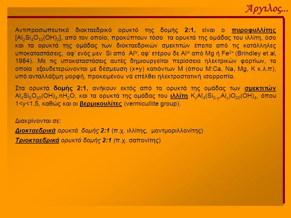 Άργιλος... Αντιπροσωπευτικό διοκταεδρικό ορυκτό της δομής 2:1, είναι ο πυροφυλλίτης [Al 2 Si 4 O 10 (OH) 2 ], από τον οποίο, προκύπτουν τόσο τα ορυκτά
