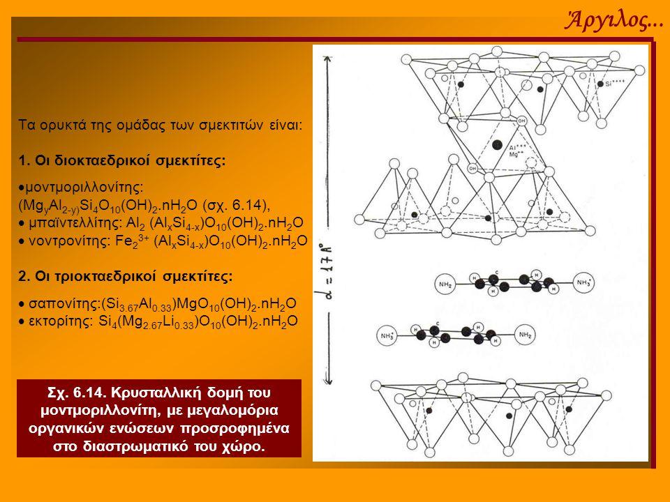 Άργιλος... Tα ορυκτά της ομάδας των σμεκτιτών είναι: 1. Οι διοκταεδρικοί σμεκτίτες:  μοντμοριλλονίτης: (Mg y Al 2-y) Si 4 O 10 (OH) 2.nH 2 O (σχ. 6.1