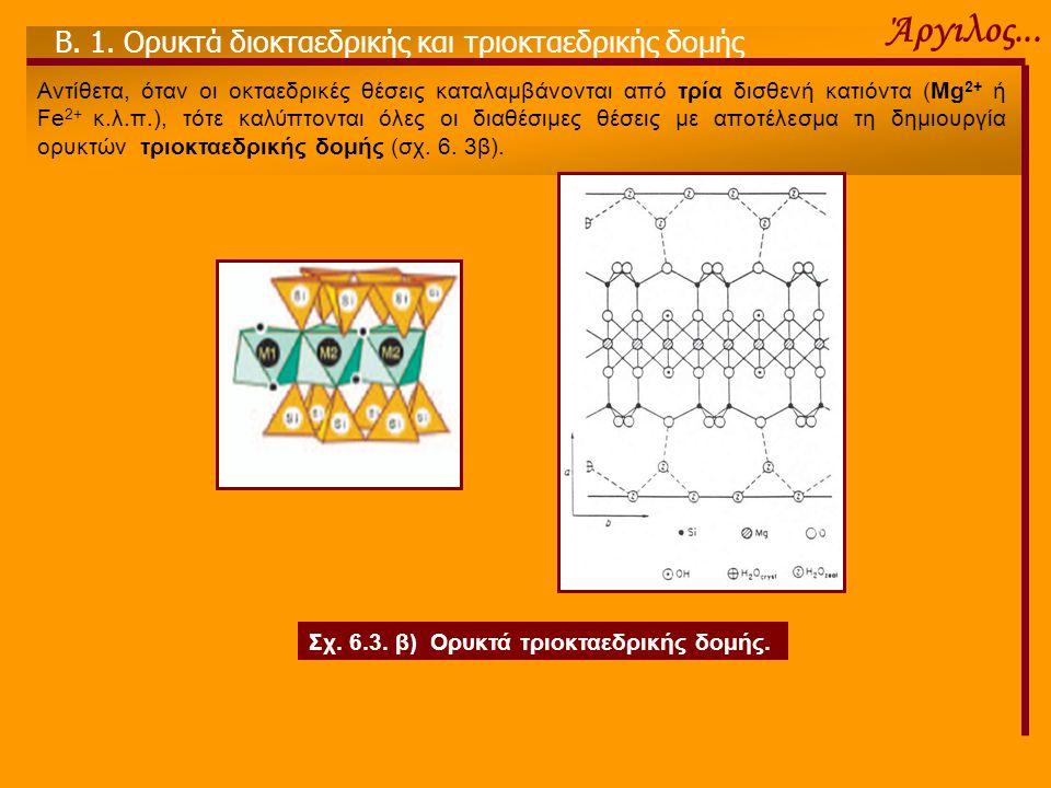 Άργιλος... Β. 1. Ορυκτά διοκταεδρικής και τριοκταεδρικής δομής Αντίθετα, όταν οι οκταεδρικές θέσεις καταλαμβάνονται από τρία δισθενή κατιόντα (Mg 2+ ή