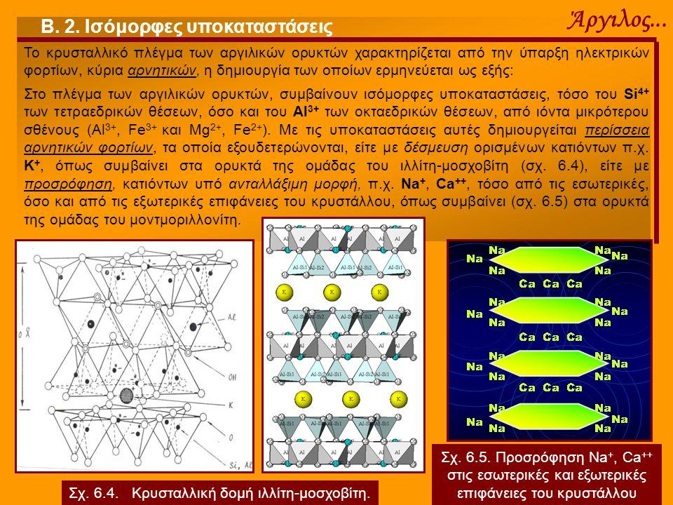 Άργιλος... Β. 2. Ισόμορφες υποκαταστάσεις Το κρυσταλλικό πλέγμα των αργιλικών ορυκτών χαρακτηρίζεται από την ύπαρξη ηλεκτρικών φορτίων, κύρια αρνητικώ