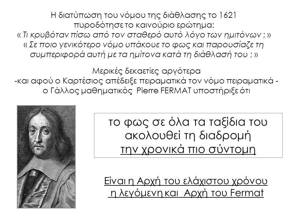 το φως σε όλα τα ταξίδια του ακολουθεί τη διαδρομή την χρονικά πιο σύντομη Η διατύπωση του νόμου της διάθλασης το 1621 πυροδότησε το καινούριο ερώτημα