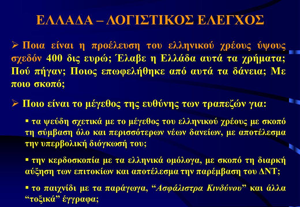 ΕΛΛΑΔΑ – ΛΟΓΙΣΤΙΚΟΣ ΕΛΕΓΧΟΣ  Ποια είναι η προέλευση του ελληνικού χρέους ύψους σχεδόν 400 δις ευρώ; Έλαβε η Ελλάδα αυτά τα χρήματα; Πού πήγαν; Ποιος επωφελήθηκε από αυτά τα δάνεια; Με ποιο σκοπό;  Ποιο είναι το μέγεθος της ευθύνης των τραπεζών για:  τα ψεύδη σχετικά με το μέγεθος του ελληνικού χρέους με σκοπό τη σύμβαση όλο και περισσότερων νέων δανείων, με αποτέλεσμα την υπερβολική διόγκωσή του;  την κερδοσκοπία με τα ελληνικά ομόλογα, με σκοπό τη διαρκή αύξηση των επιτοκίων και αποτέλεσμα την παρέμβαση του ΔΝΤ;  το παιχνίδι με τα παράγωγα, Ασφάλιστρα Κινδύνου και άλλα τοξικά έγγραφα;