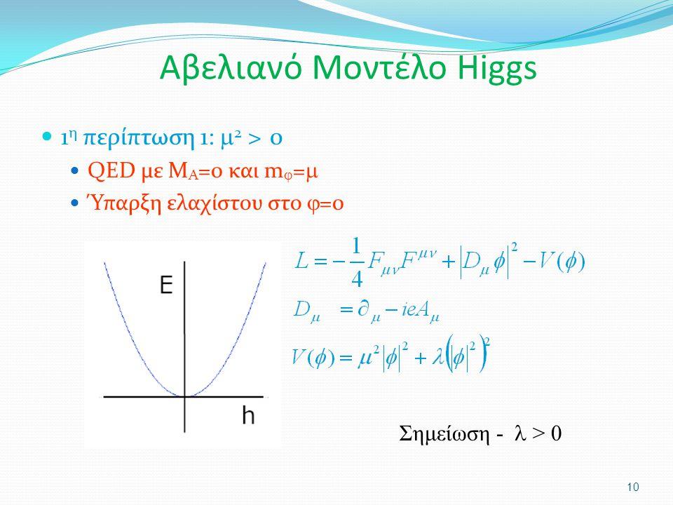 1 η περίπτωση 1:  2 > 0 QED με M A =0 και m  =  Ύπαρξη ελαχίστου στο  =0 10 Σημείωση - > 0 Αβελιανό Μοντέλο Higgs