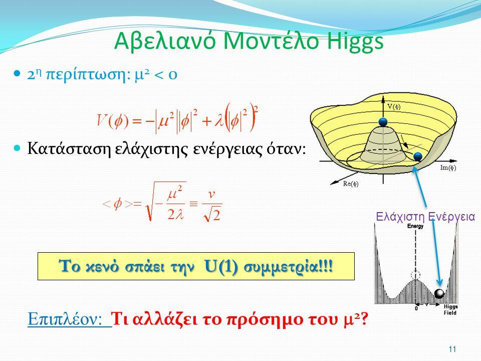 2 η περίπτωση:  2 < 0 Κατάσταση ελάχιστης ενέργειας όταν: 11 Το κενό σπάει την U(1) συμμετρία!!! Επιπλέον: Τι αλλάζει το πρόσημο του  2 ? Αβελιανό Μ