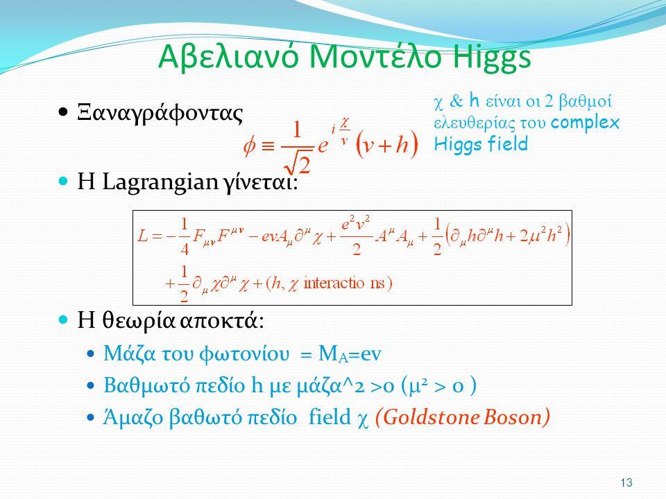 Ξαναγράφοντας Η Lagrangian γίνεται: Η θεωρία αποκτά: Μάζα του φωτονίου = M A =ev Βαθμωτό πεδίο h με μάζα^2 >0 (  2 > 0 ) Άμαζο βαθωτό πεδίο field  (