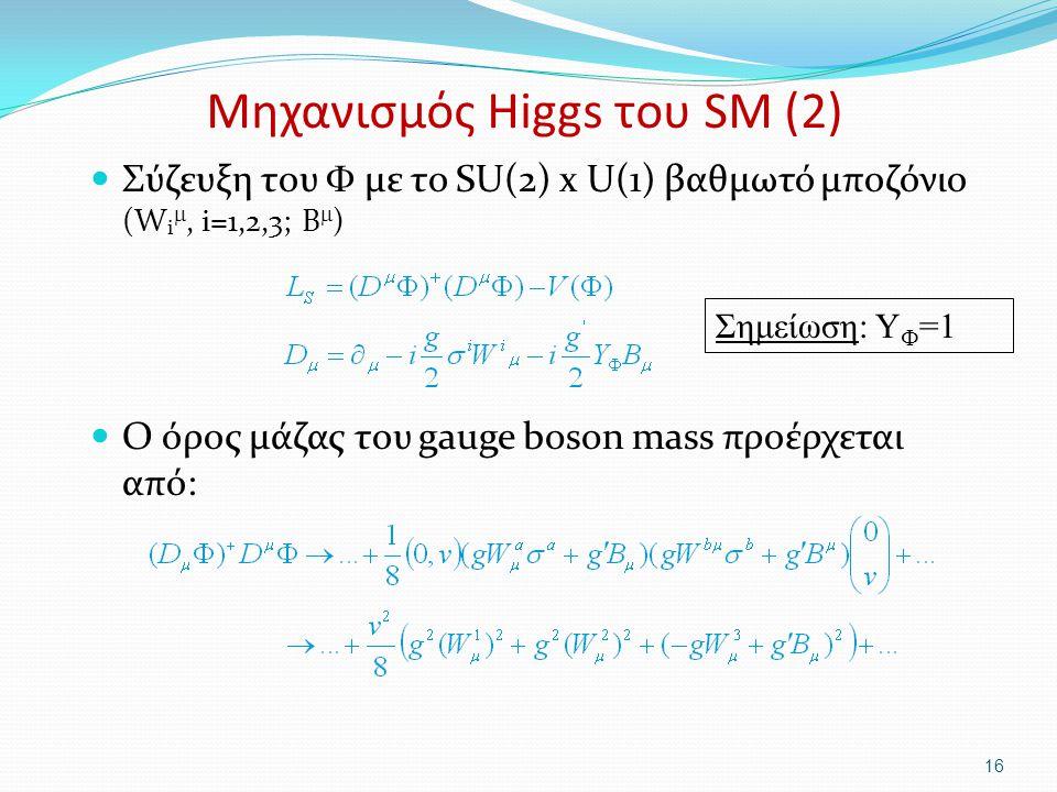 Μηχανισμός Higgs του SM (2) Σύζευξη του  με το SU(2) x U(1) βαθμωτό μποζόνιο (W i , i=1,2,3; B  ) Ο όρος μάζας του gauge boson mass προέρχεται από: