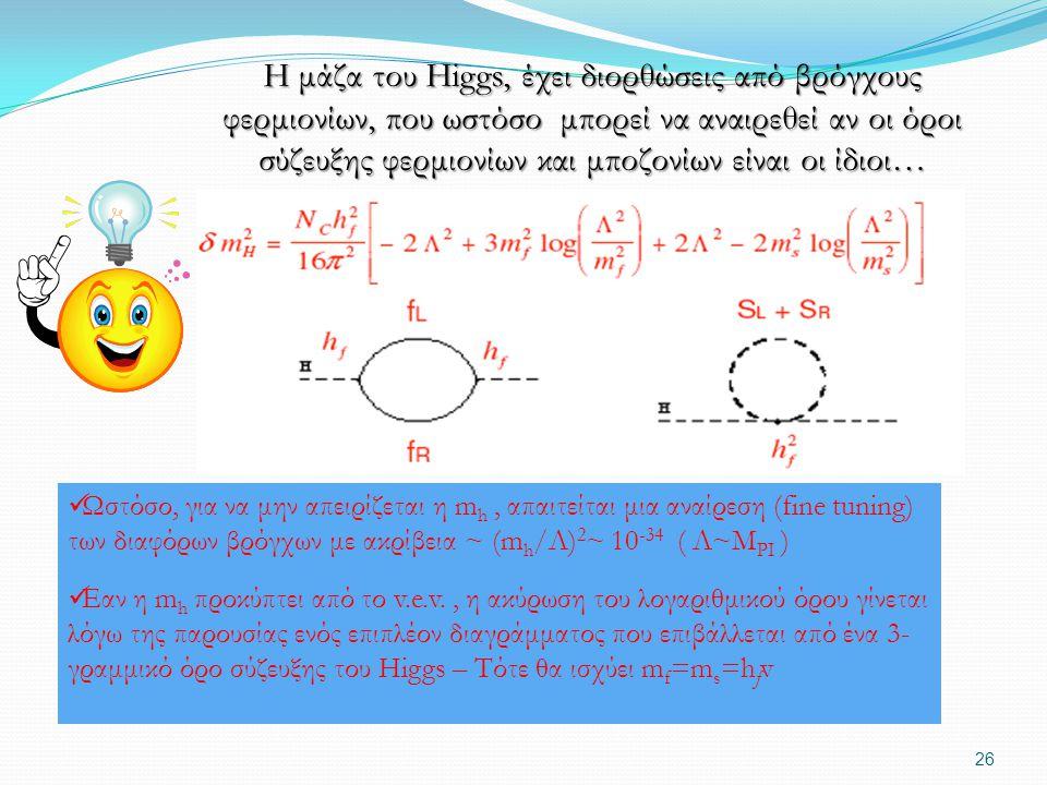 Η μάζα του Higgs, έχει διορθώσεις από βρόγχους φερμιονίων, που ωστόσο μπορεί να αναιρεθεί αν οι όροι σύζευξης φερμιονίων και μποζονίων είναι οι ίδιοι…