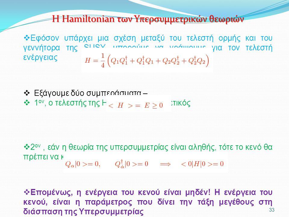 Η Hamiltonian των Υπερσυμμετρικών θεωριών  Εφόσον υπάρχει μια σχέση μεταξύ του τελεστή ορμής και του γεννήτορα της SUSY, μπορούμε να γράψουμε για τον