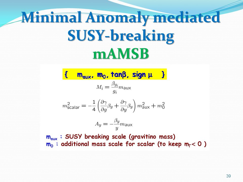 Minimal Anomaly mediated SUSY-breaking mAMSB 39