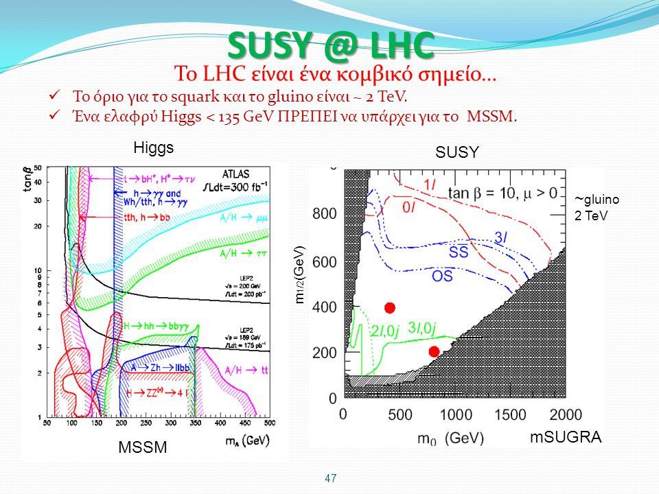 SUSY @ LHC 47 Το LHC είναι ένα κομβικό σημείο… Το όριο για το squark και το gluino είναι ~ 2 TeV. Ένα ελαφρύ Higgs < 135 GeV ΠΡΕΠΕΙ να υπάρχει για το