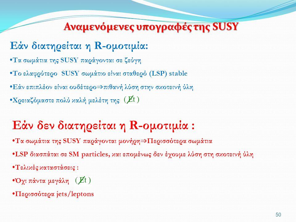 Αναμενόμενες υπογραφές της SUSY Αναμενόμενες υπογραφές της SUSY 50 Εάν διατηρείται η R-ομοτιμία: Τα σωμάτια της SUSY παράγονται σε ζεύγη Το ελαφρύτερο