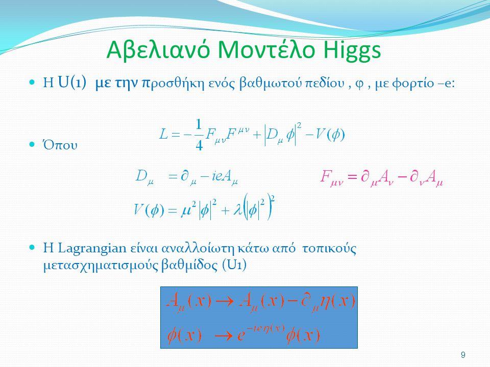 Αβελιανό Μοντέλο Higgs Η U(1) με την π ροσθήκη ενός βαθμωτού πεδίου, , με φορτίο –e: Όπου Η Lagrangian είναι αναλλοίωτη κάτω από τοπικούς μετασχηματι
