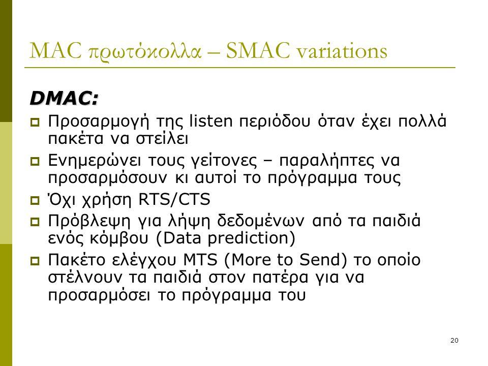20 MAC πρωτόκολλα – SMAC variations DMAC:  Προσαρμογή της listen περιόδου όταν έχει πολλά πακέτα να στείλει  Ενημερώνει τους γείτονες – παραλήπτες ν