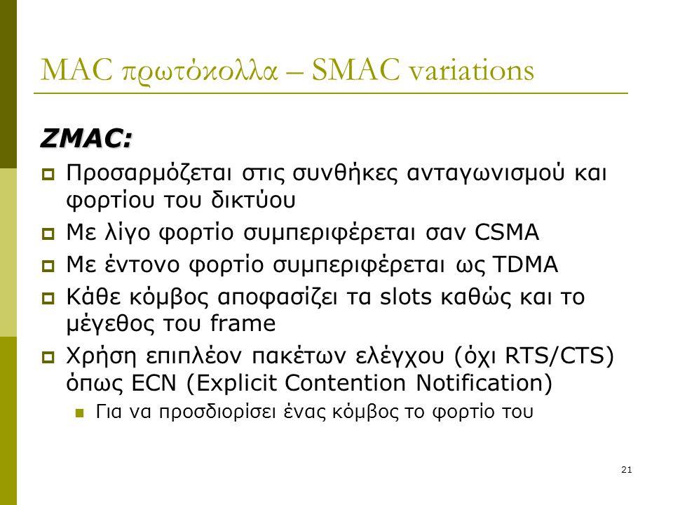 21 MAC πρωτόκολλα – SMAC variations ΖMAC:  Προσαρμόζεται στις συνθήκες ανταγωνισμού και φορτίου του δικτύου  Με λίγο φορτίο συμπεριφέρεται σαν CSMA