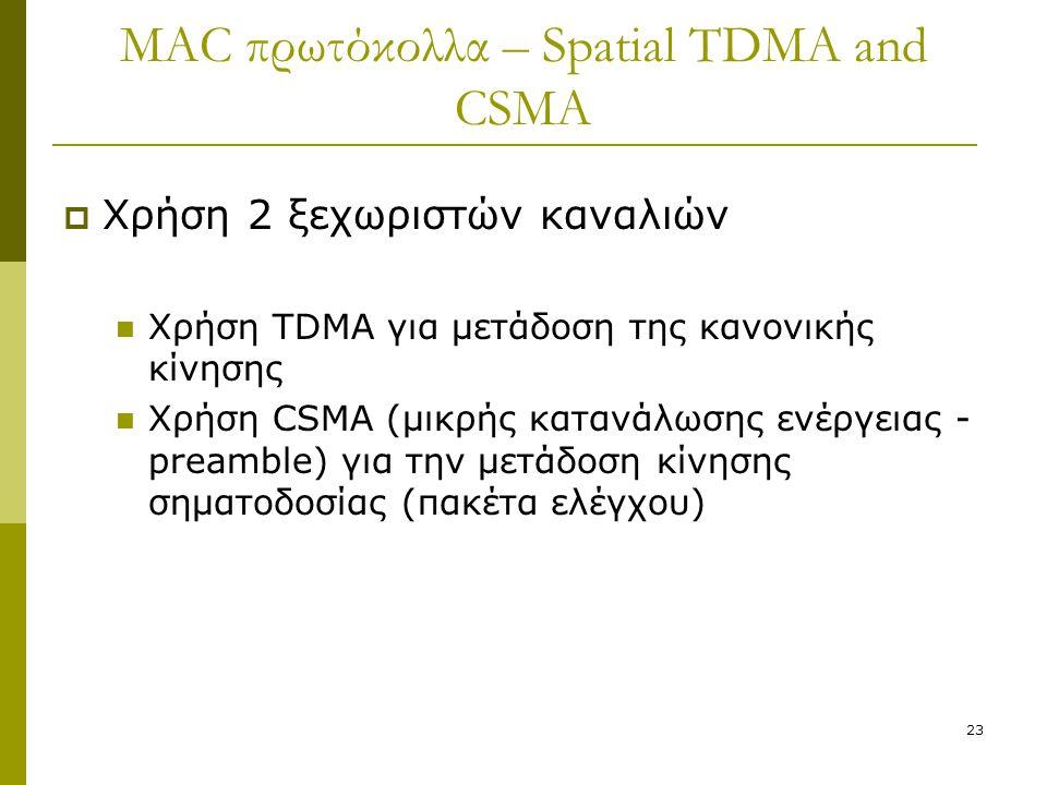 23 MAC πρωτόκολλα – Spatial TDMA and CSMA  Χρήση 2 ξεχωριστών καναλιών Χρήση TDMA για μετάδοση της κανονικής κίνησης Χρήση CSMA (μικρής κατανάλωσης ε