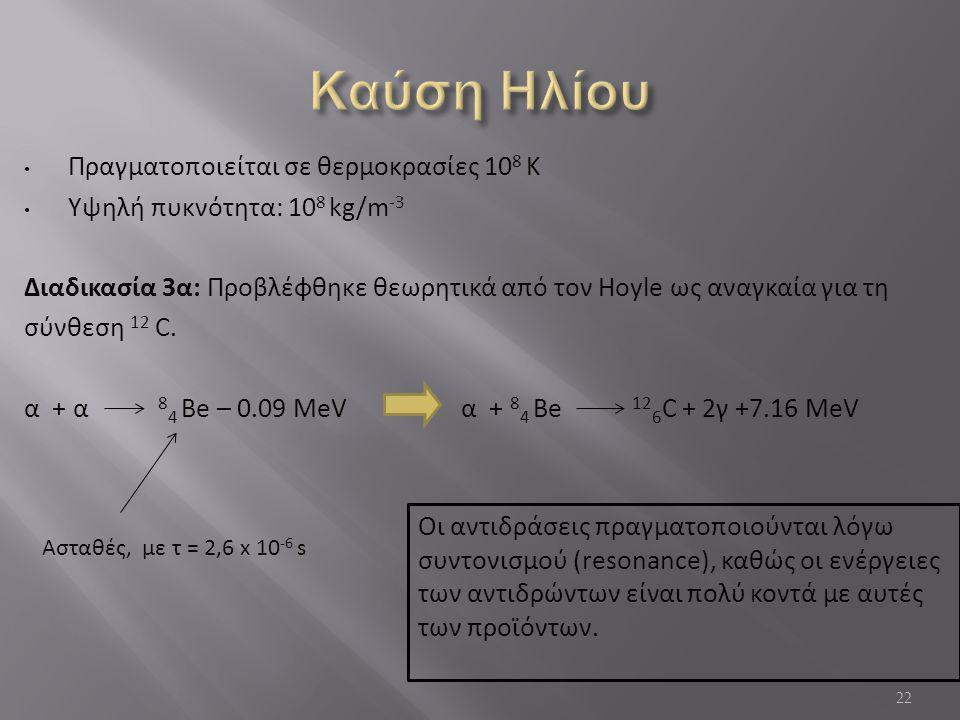 Πραγματοποιείται σε θερμοκρασίες 10 8 Κ Υψηλή πυκνότητα: 10 8 kg/m -3 Διαδικασία 3α: Προβλέφθηκε θεωρητικά από τον Hoyle ως αναγκαία για τη σύνθεση 12 C.