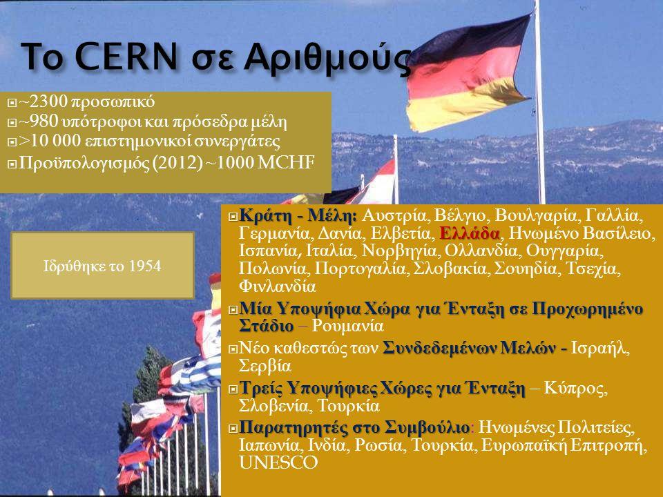  ~2300 προσωπικό  ~980 υπότροφοι και πρόσεδρα μέλη  >10 000 επιστημονικοί συνεργάτες  Πρ o ϋπολογισμός (2012) ~1000 MCHF  Κράτη - Μέλη : Ελλάδα  Κράτη - Μέλη : Αυστρία, Βέλγιο, Βουλγαρία, Γαλλία, Γερμανία, Δανία, Ελβετία, Ελλάδα, Ηνωμένο Βασίλειο, Ισπανία, Ιταλία, Νορβηγία, Ολλανδία, Ουγγαρία, Πολωνία, Πορτογαλία, Σλοβακία, Σουηδία, Τσεχία, Φινλανδία  Μία Υποψήφια Χώρα για Ένταξη σε Προχωρημένο Στάδιο  Μία Υποψήφια Χώρα για Ένταξη σε Προχωρημένο Στάδιο – Ρουμανία Συνδεδεμένων Μελών -  Νέο καθεστώς των Συνδεδεμένων Μελών - Ισραήλ, Σερβία  Τρε Υποψήφιες Χώρες για Ένταξη  Τρείς Υποψήφιες Χώρες για Ένταξη – Κύπρος, Σλοβενία, Τουρκία  Παρατηρητές στο Συμβούλιο  Παρατηρητές στο Συμβούλιο : Ηνωμένες Πολιτείες, Ιαπωνία, Ινδία, Ρωσία, Τουρκία, Ευρωπαϊκή Επιτροπή, UNESCO Ιδρύθηκε το 1954