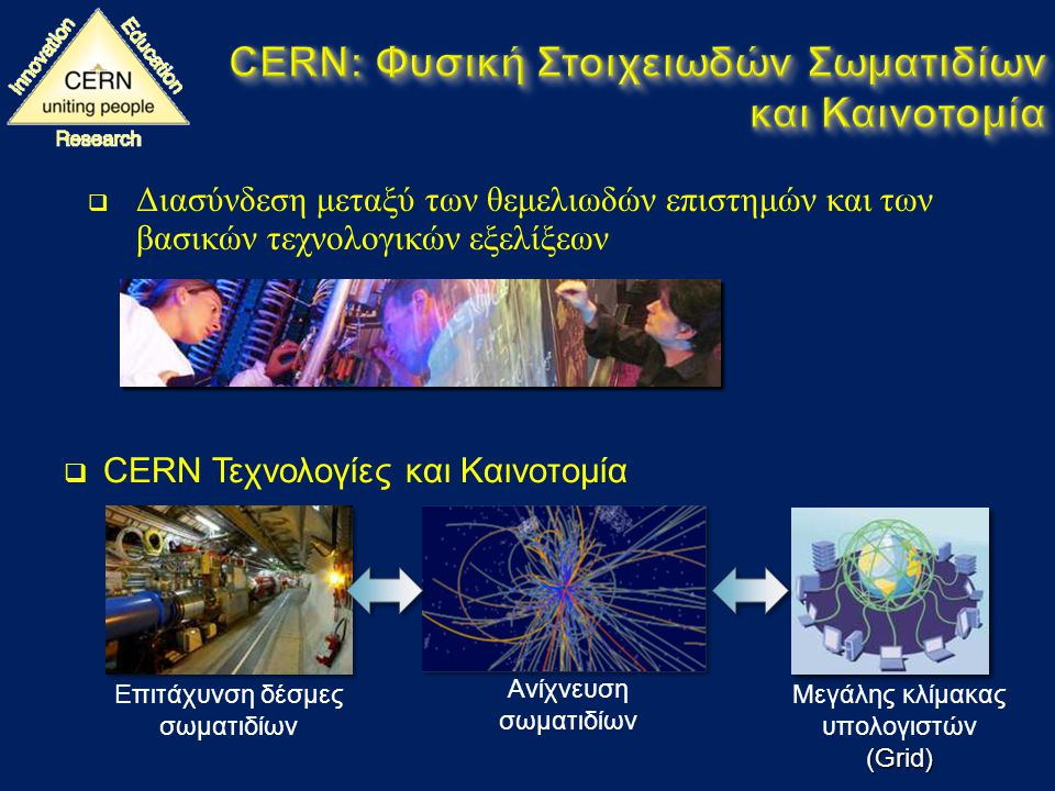  Διασύνδεση μεταξύ των θεμελιωδών επιστημών και των βασικών τεχνολογικών εξελίξεων  CERN Τεχνολογίες και Καινοτομία Ανίχνευση σωματιδίων Επιτάχυνση δέσμες σωματιδίων Μεγάλης κλίμακας υπολογιστών(Grid)