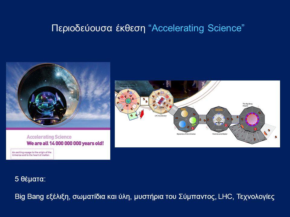 Περιοδεύουσα έκθεση Accelerating Science 5 θέματα: Big Bang εξέλιξη, σωματίδια και ύλη, μυστήρια του Σύμπαντος, LHC, Τεχνολογίες