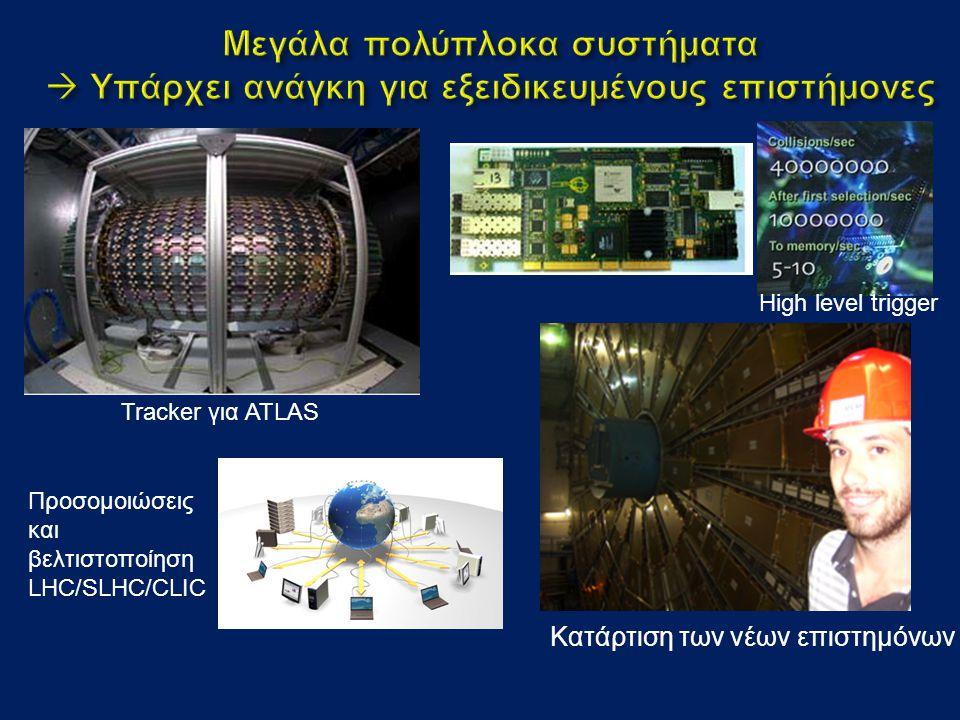 High level trigger Κατάρτιση των νέων επιστημόνων Tracker για ATLAS Προσομοιώσεις και βελτιστοποίηση LHC/SLHC/CLIC