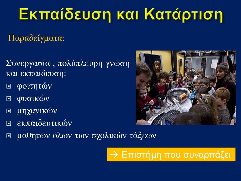 Παραδείγματα : Συνεργασία, πολύπλευρη γνώση και εκπαίδευση :  φοιτητών  φυσικών  μηχανικών  εκπαιδευτικών  μαθητών όλων των σχολικών τάξεων  Επιστήμη που συναρπάζει