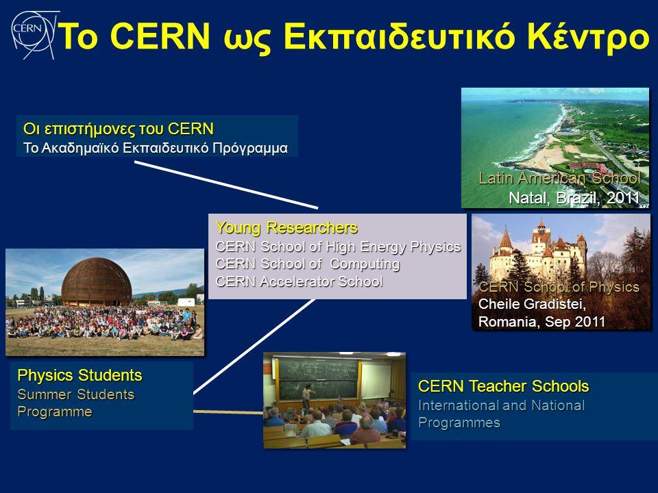 Οι επιστήμονες του CERN Το Ακαδημαϊκό Εκπαιδευτικό Πρόγραμμα Young Researchers CERN School of High Energy Physics CERN School of Computing CERN Accele