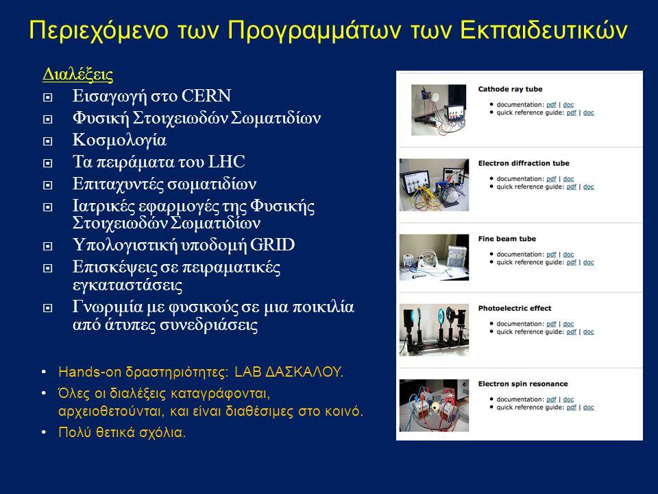 Διαλέξεις  Εισαγωγή στο CERN  Φυσική Στοιχειωδών Σωματιδίων  Κοσμολογία  Τα πειράματα του LHC  Επιταχυντές σωματιδίων  Ιατρικές εφαρμογές της Φυσικής Στοιχειωδών Σωματιδίων  Υπολογιστική υποδομή GRID  Επισκέψεις σε πειραματικές εγκαταστάσεις  Γνωριμία με φυσικούς σε μια ποικιλία από άτυπες συνεδριάσεις Περιεχόμενο των Προγραμμάτων των Εκπαιδευτικών Hands-on δραστηριότητες: LAB ΔΑΣΚΑΛΟΥ.