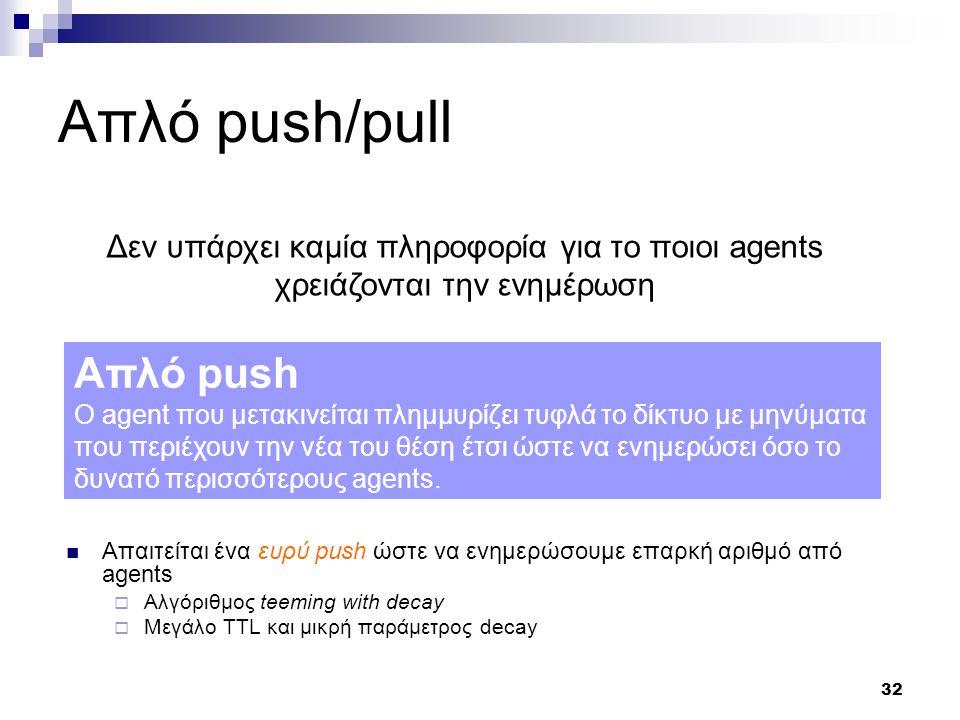 32 Απλό push/pull Δεν υπάρχει καμία πληροφορία για το ποιοι agents χρειάζονται την ενημέρωση Απλό push O agent που μετακινείται πλημμυρίζει τυφλά το δίκτυο με μηνύματα που περιέχουν την νέα του θέση έτσι ώστε να ενημερώσει όσο το δυνατό περισσότερους agents.