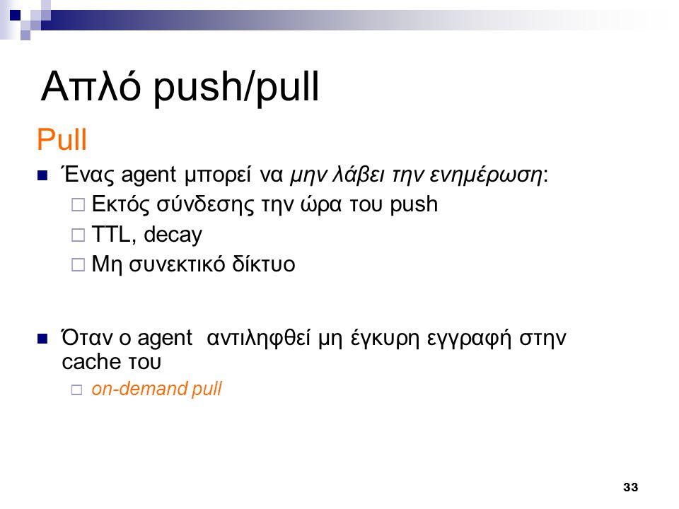 33 Απλό push/pull Pull Ένας agent μπορεί να μην λάβει την ενημέρωση:  Εκτός σύνδεσης την ώρα του push  TTL, decay  Μη συνεκτικό δίκτυο Όταν ο agent αντιληφθεί μη έγκυρη εγγραφή στην cache του  on-demand pull