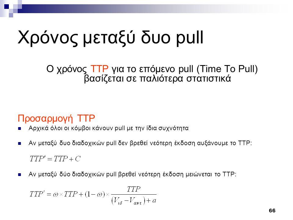 66 Χρόνος μεταξύ δυο pull Ο χρόνος TTP για το επόμενο pull (Time To Pull) βασίζεται σε παλιότερα στατιστικά Προσαρμογή TTP Αρχικά όλοι οι κόμβοι κάνουν pull με την ίδια συχνότητα Αν μεταξύ δυο διαδοχικών pull δεν βρεθεί νεότερη έκδοση αυξάνουμε το TTP: Αν μεταξύ δύο διαδοχικών pull βρεθεί νεότερη έκδοση μειώνεται το TTP: