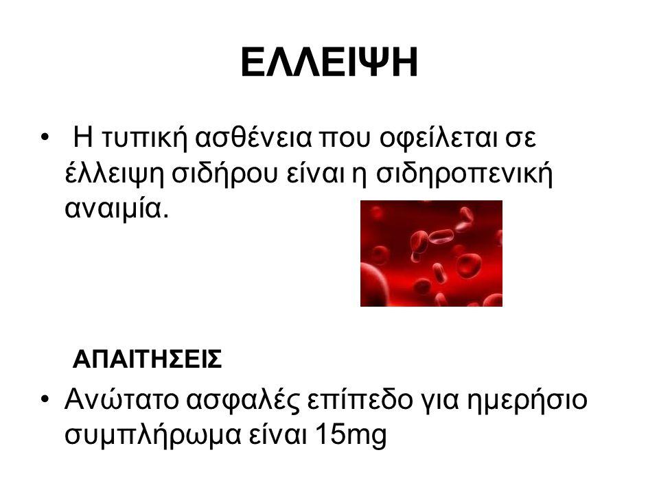 ΕΛΛΕΙΨΗ Η τυπική ασθένεια που οφείλεται σε έλλειψη σιδήρου είναι η σιδηροπενική αναιμία. ΑΠΑΙΤΗΣΕΙΣ Ανώτατο ασφαλές επίπεδο για ημερήσιο συμπλήρωμα εί