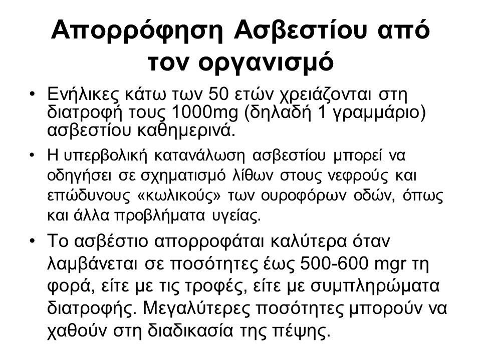 Απορρόφηση Ασβεστίου από τον οργανισμό Ενήλικες κάτω των 50 ετών χρειάζονται στη διατροφή τους 1000mg (δηλαδή 1 γραμμάριο) ασβεστίου καθημερινά. Η υπε