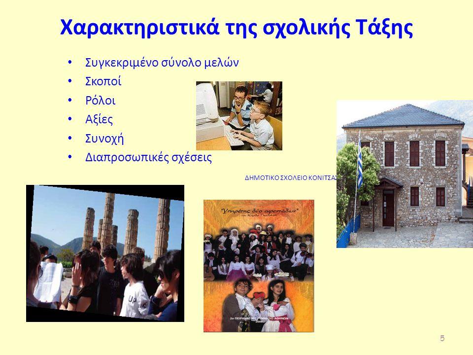 Χαρακτηριστικά της σχολικής Τάξης Συγκεκριμένο σύνολο μελών Σκοποί Ρόλοι Αξίες Συνοχή Διαπροσωπικές σχέσεις ΔΗΜΟΤΙΚΟ ΣΧΟΛΕΙΟ ΚΟΝΙΤΣΑΣ 5
