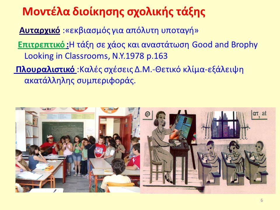 Μοντέλα διοίκησης σχολικής τάξης Αυταρχικό :«εκβιασμός για απόλυτη υποταγή» Επιτρεπτικό :Η τάξη σε χάος και αναστάτωση Good and Brophy Looking in Classrooms, N.Y.1978 p.163 Πλουραλιστικό :Καλές σχέσεις Δ.Μ.-Θετικό κλίμα-εξάλειψη ακατάλληλης συμπεριφοράς.