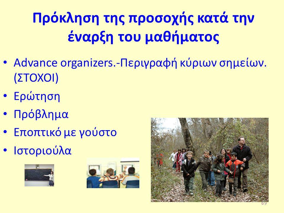 Πρόκληση της προσοχής κατά την έναρξη του μαθήματος Advance organizers.-Περιγραφή κύριων σημείων.