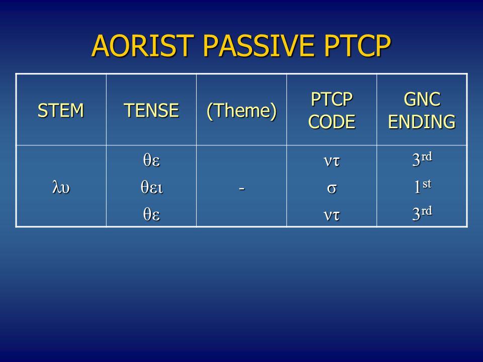 AORIST PASSIVE PTCP STEMΤENSE(Theme) PTCP CODE GNC ENDING λυθεθειθε-ντσντ 3 rd 1 st 3 rd