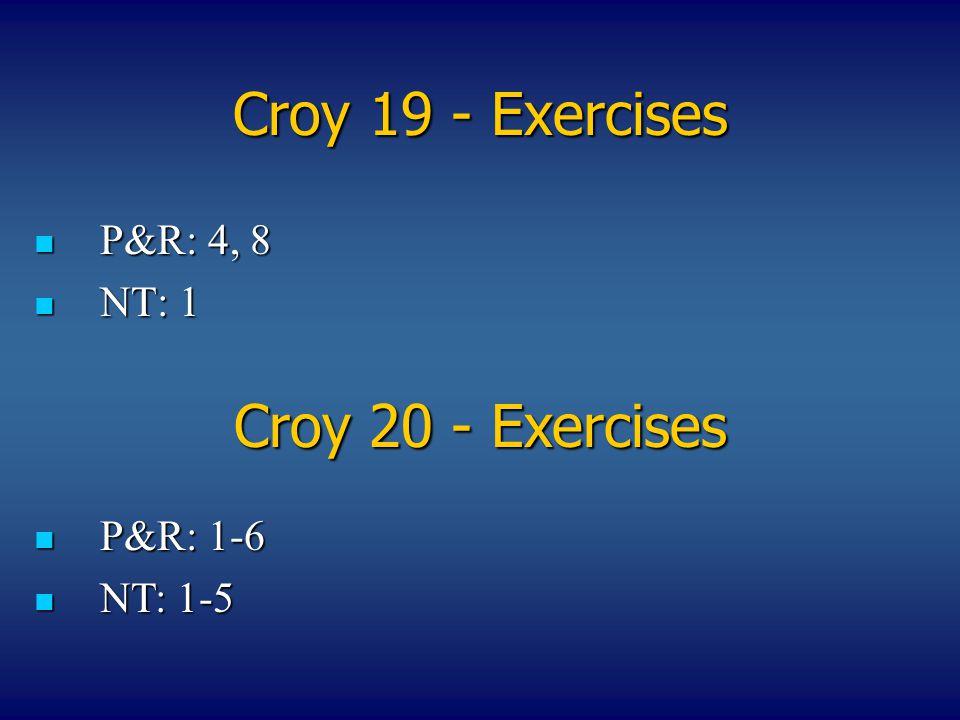 Croy 19 - Exercises P&R: 4, 8 P&R: 4, 8 NT: 1 NT: 1 Croy 20 - Exercises P&R: 1-6 P&R: 1-6 NT: 1-5 NT: 1-5